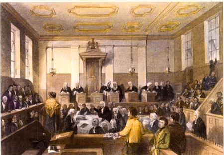 Illustration of the Old Bailey during the Regency period.